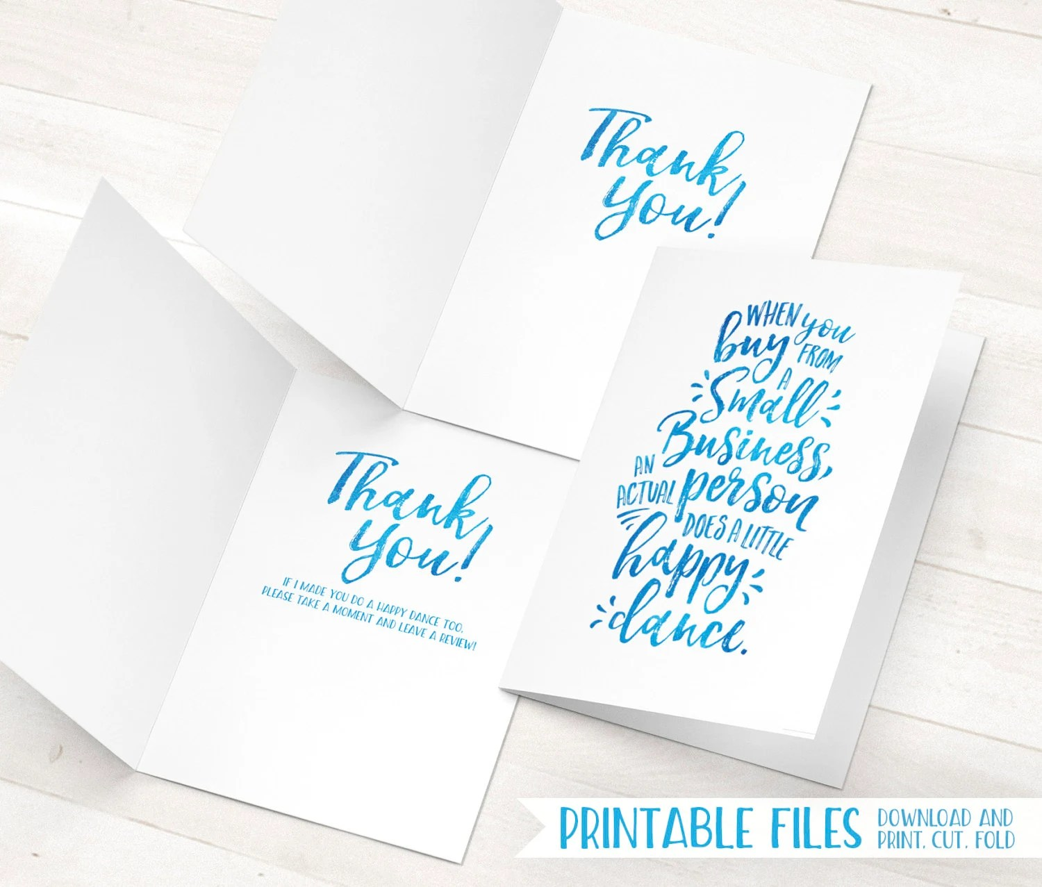 Printable Thank You Cards Small Business Thank You Cards Etsy