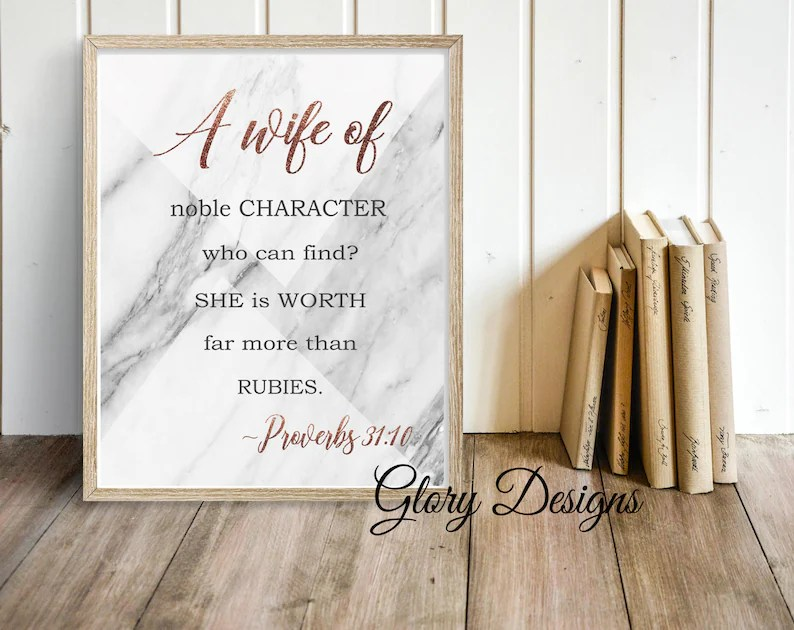 PRINTABLE Bible Verse Proverbs 31 printable A wife of noble Etsy