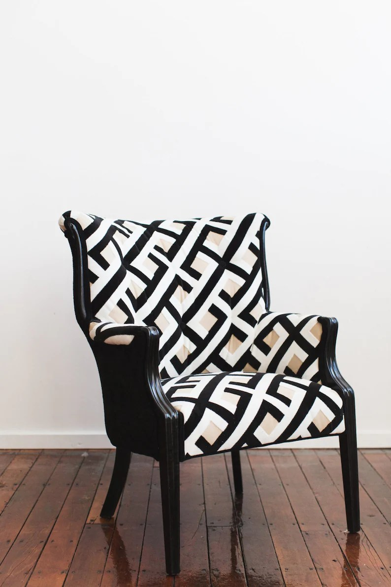 Black And White Accent Chair Refurbished Vintage Accent Chair Camel Back Black White
