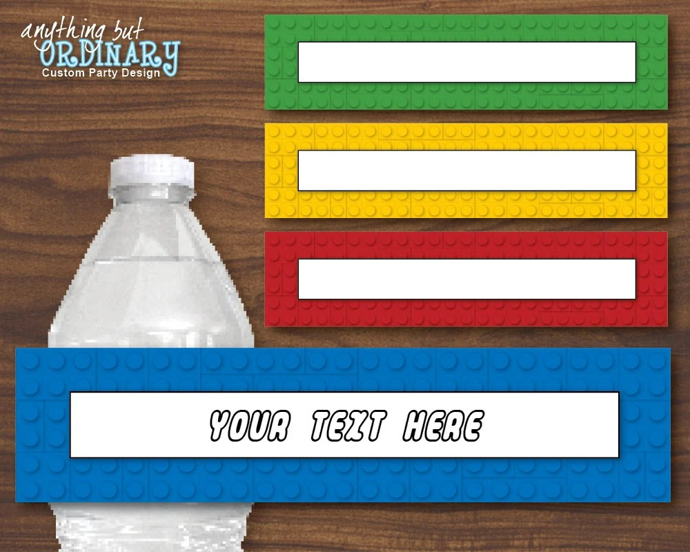 Lego Inspired Water Bottle Labels Editable Colored Block Etsy