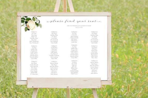 Minimal Rose Wedding Seating Chart Template Botanical Wedding