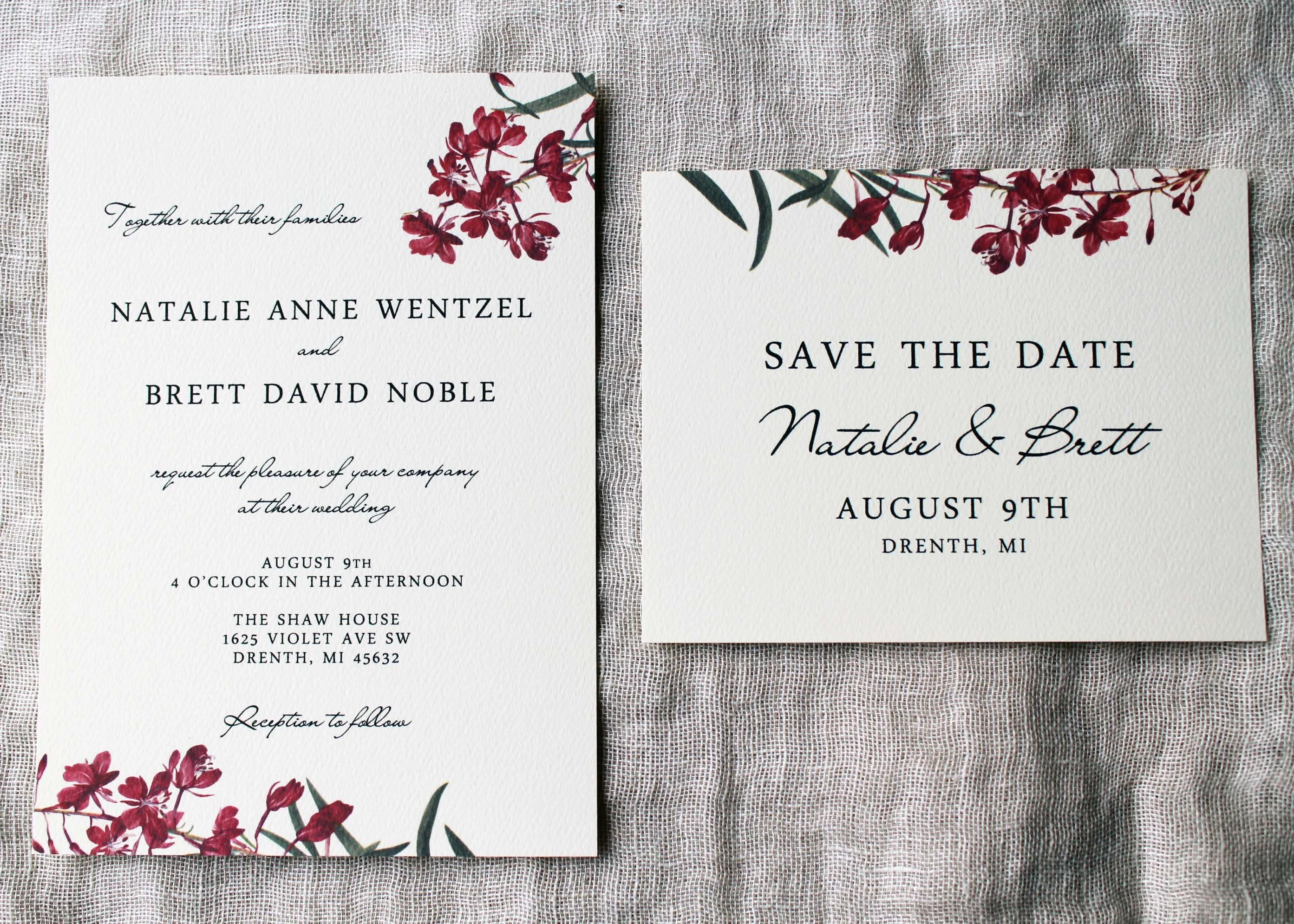 Fireweed Wedding Save The Date Cards Wildflower Save The Etsy