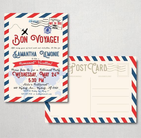 Bon Voyage Retirement Postcard Invitation Retirement Etsy