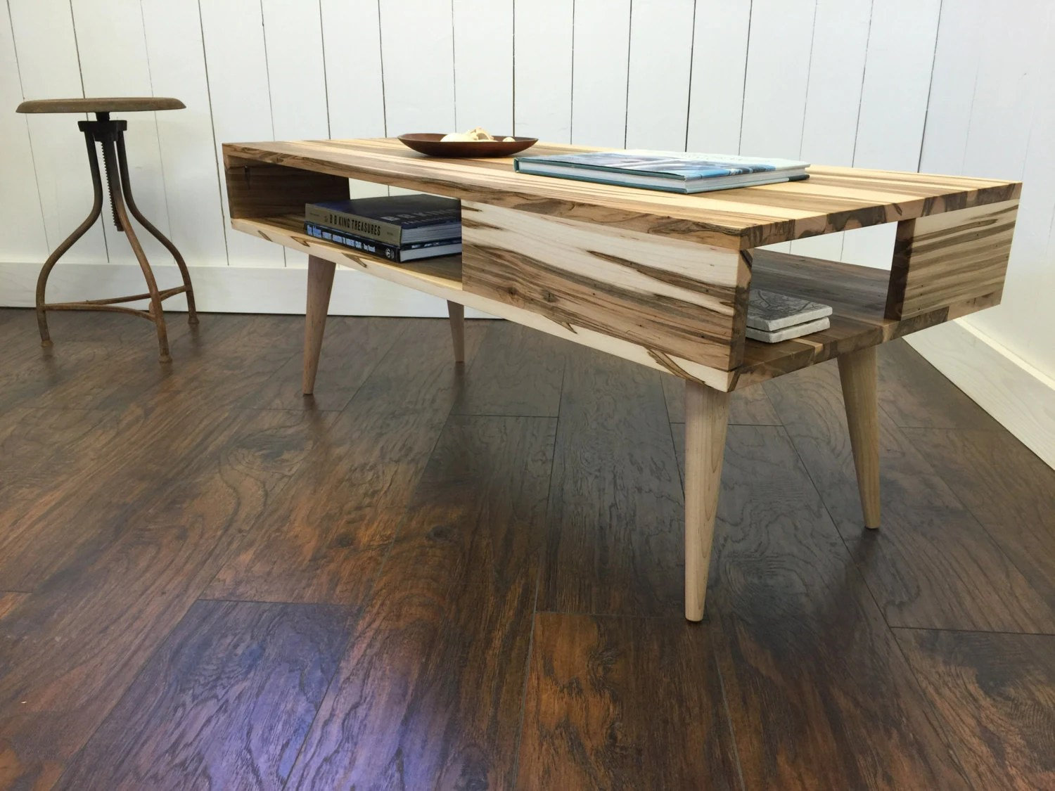 Modern Coffee Table With Storage Thin Man Mid Century Modern Coffee Table With Storage Featuring Wormy Maple Tapered Wood Legs