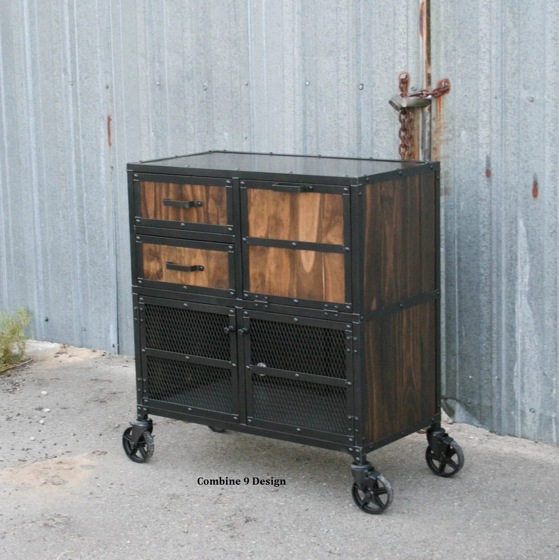 Salon Industrial Modern Industrial Salon Workstation Rustic Cart Reclaimed Wood And Steel Barber Station Mobile Storage Cabinet Custom Options Avail