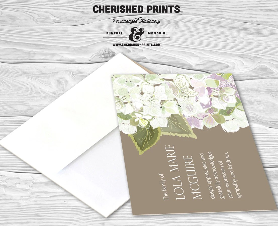 Hydrangea Personalized Thank You Cards Sympathy Thank You Etsy