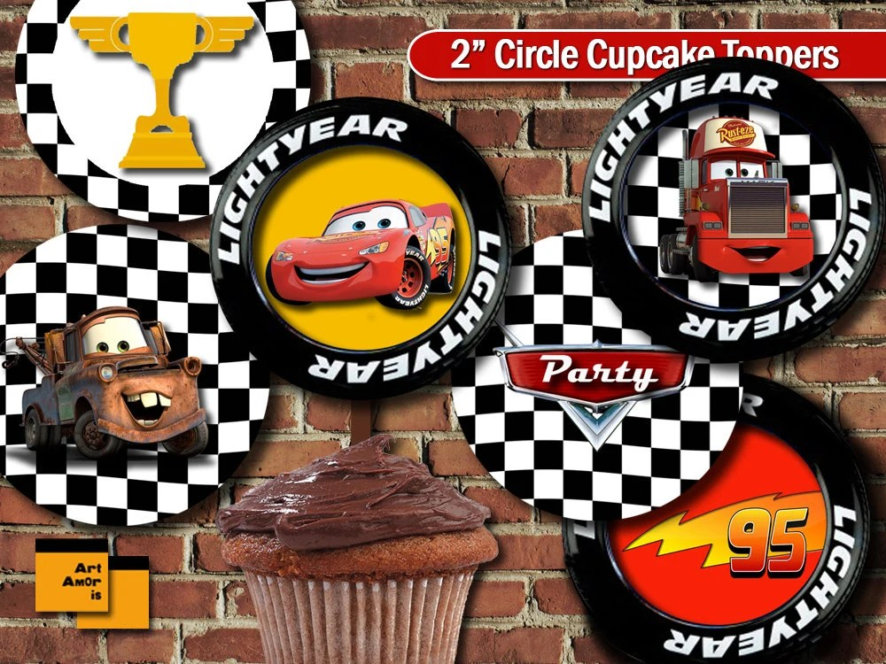 Cars theme Party Cupcake Topper Birthday Party Cupcake Etsy