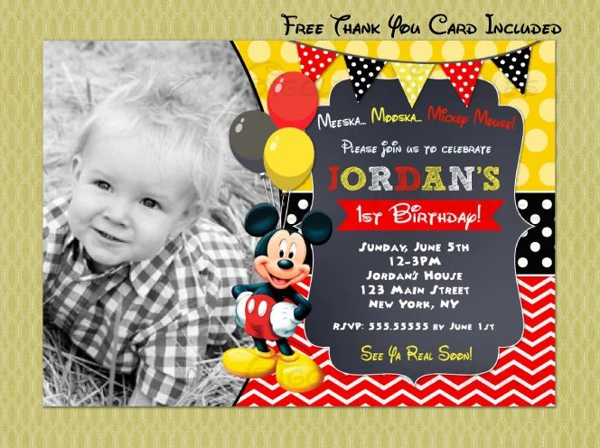 Mickey Mouse Birthday Invitation Mickey Mouse Invitations Etsy