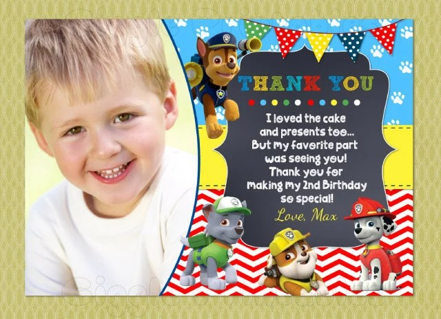 Paw Patrol Thank You Cards Birthday Thank You Notes DIY Etsy