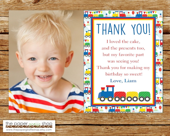 Train Thank You Card with Photo Birthday Train Thank You Card