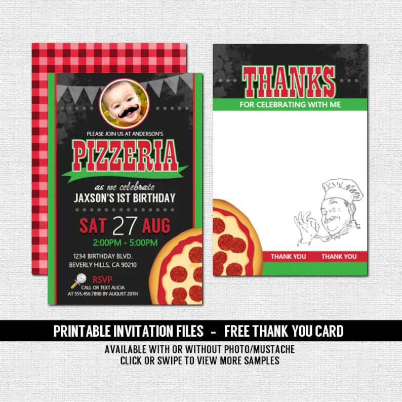 PIZZA PARTY INVITATION Pizzeria Birthday Free Thank You Card Etsy