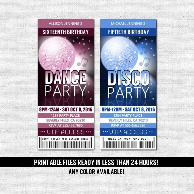 DANCE PARTY TICKET Invitations Birthday Disco Any Color Any Etsy