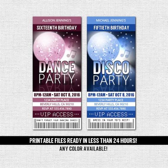 DANCE PARTY TICKET Invitations Birthday Disco Any Color Any Etsy - party ticket invitations