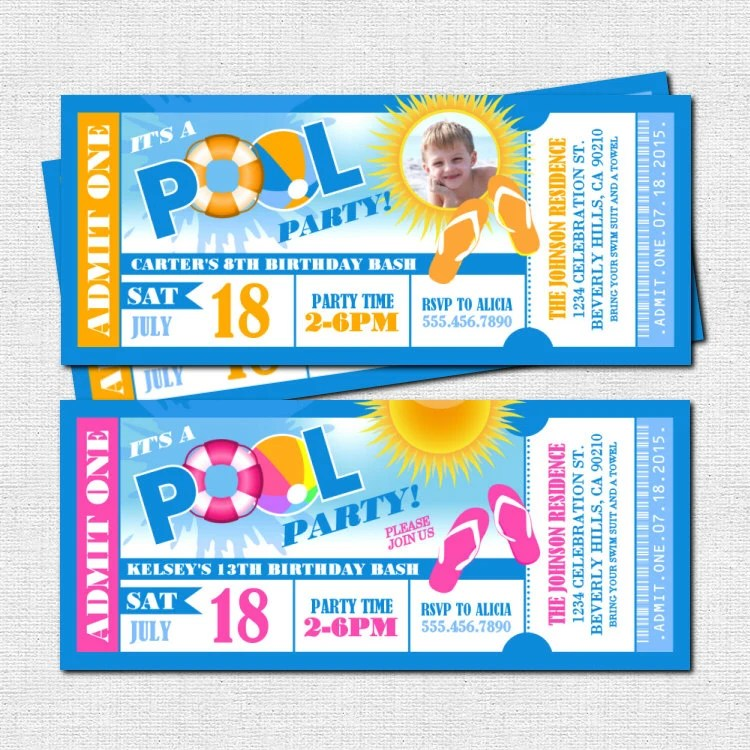 POOL PARTY Ticket Invitations Summer Celebration print your Etsy