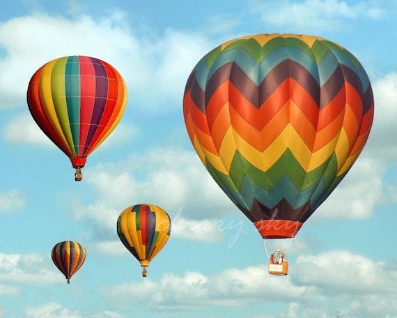 Rainbow Balloons Floating Up and Away Hot Air Balloon Etsy