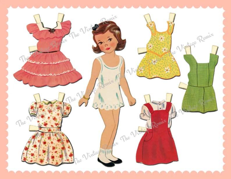 INSTANT DOWNLOAD Printable Paper Doll Digital Collage Sheet Etsy