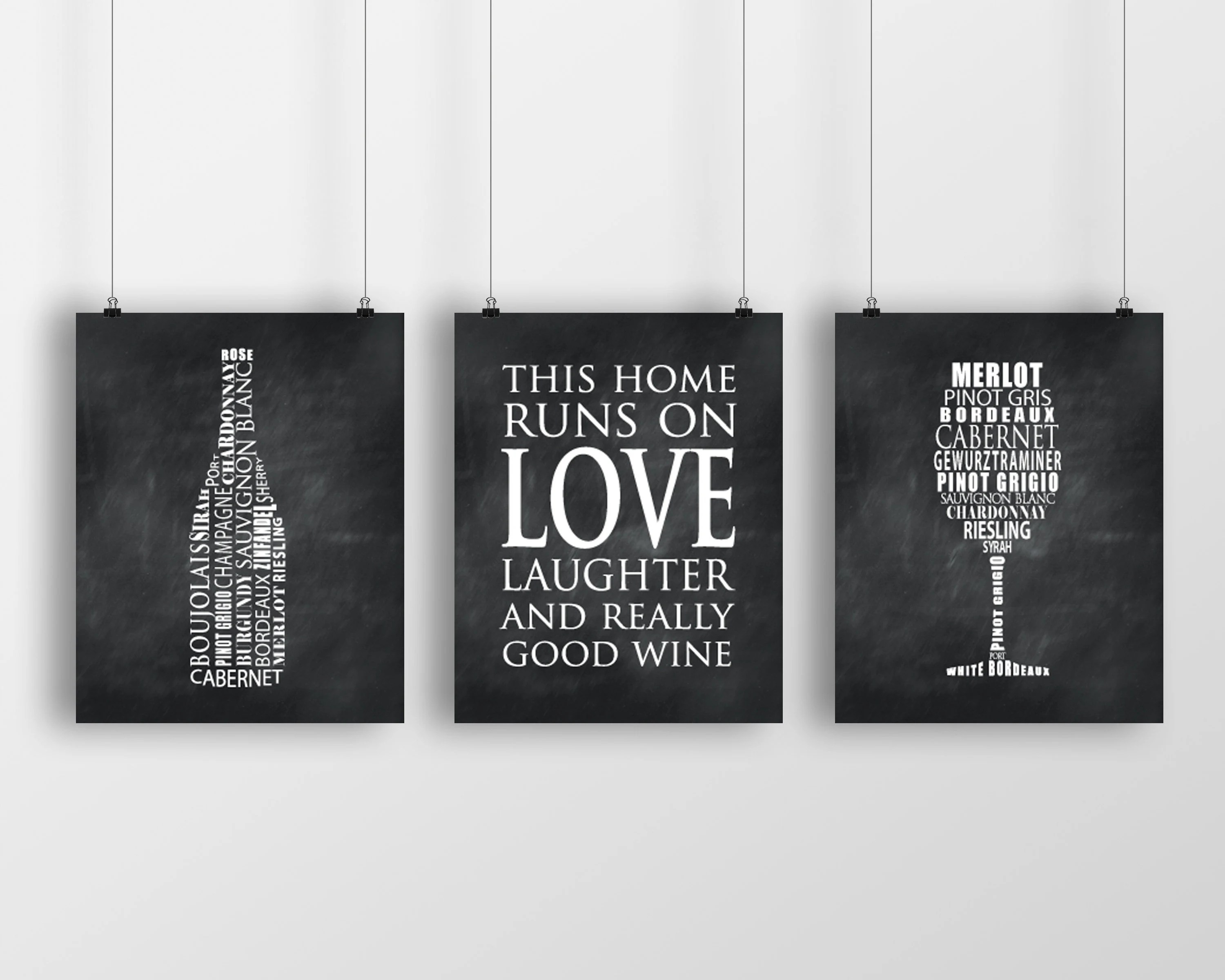 11 X 20 Kitchen Design Wine Typography Prints Kitchen Wall Art This House Runs On Love Laughter And Really Good Wine Wine Glass Wine Bottle Wall Decor