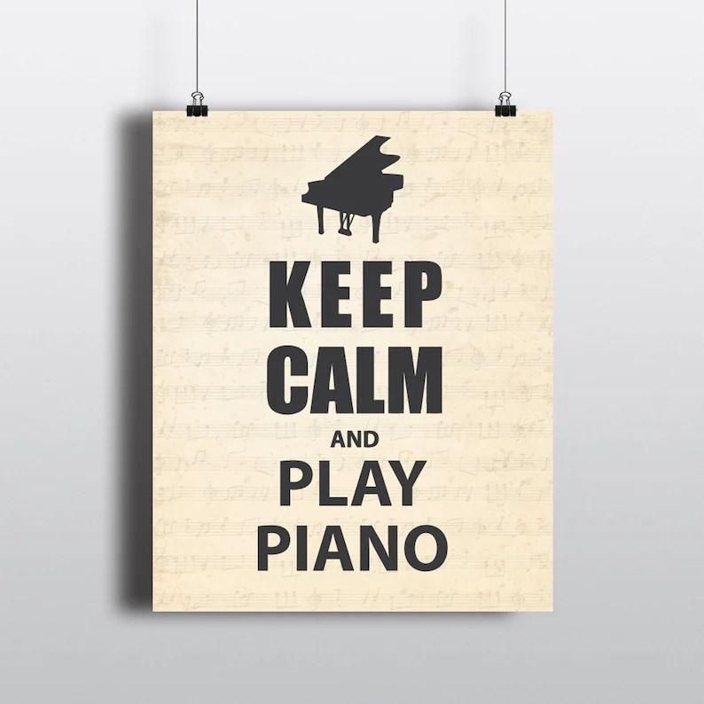 Wall Art Keep Calm and Play Piano Word Art Music Etsy