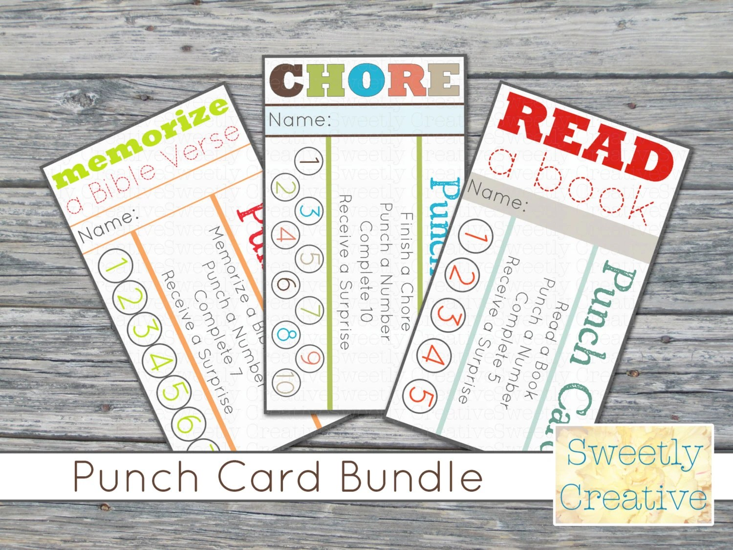 Printable Punch Card Bundle Chore Read A Book and Memorize Etsy