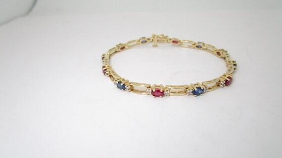 14k Solid Gold 372 Ctw Diamond Ruby Sapphire Bracelet