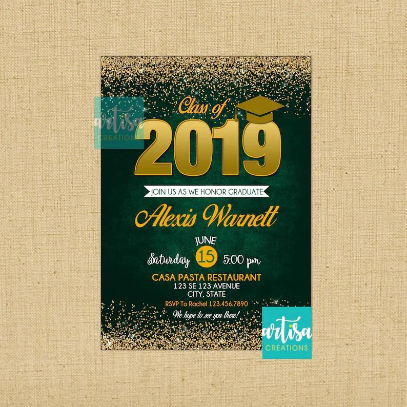 Green and Gold graduation invitation green gold graduation Etsy