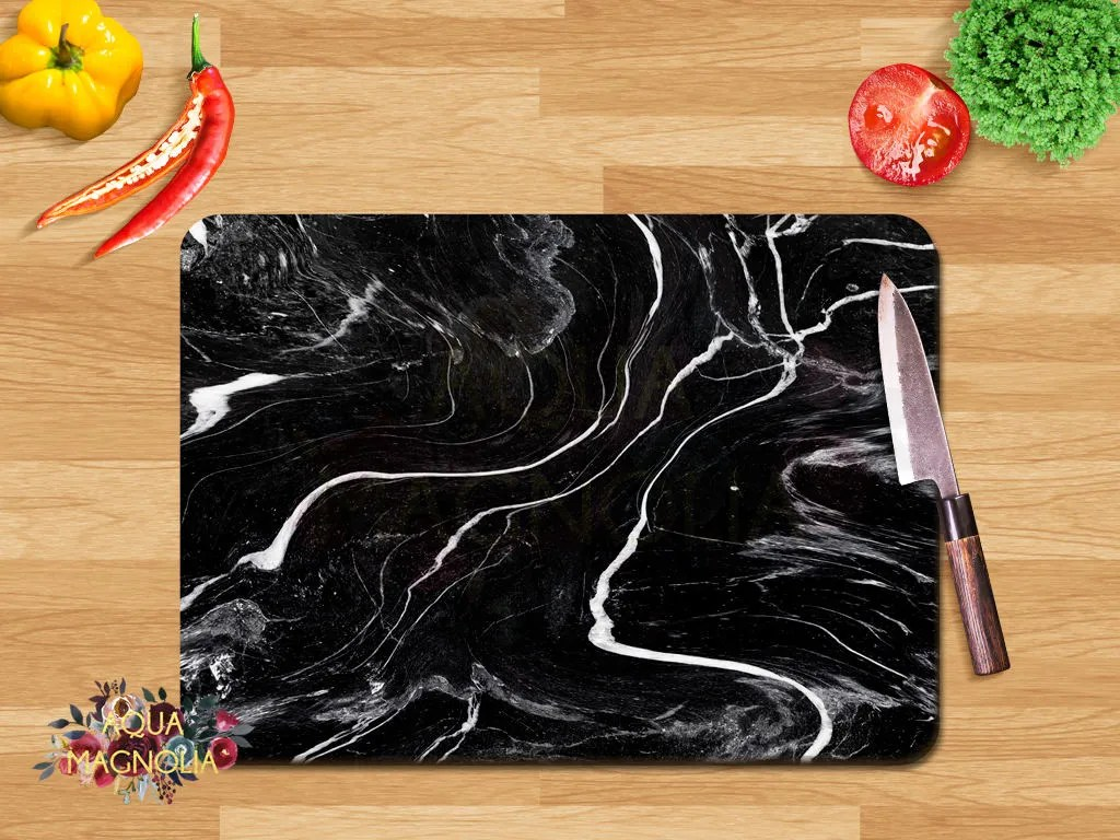 Small Marble Cutting Board Personalized Small Glass Cutting Board Black Marble Design Monogrammed House Warming Cutting Board Kitchen Accessories