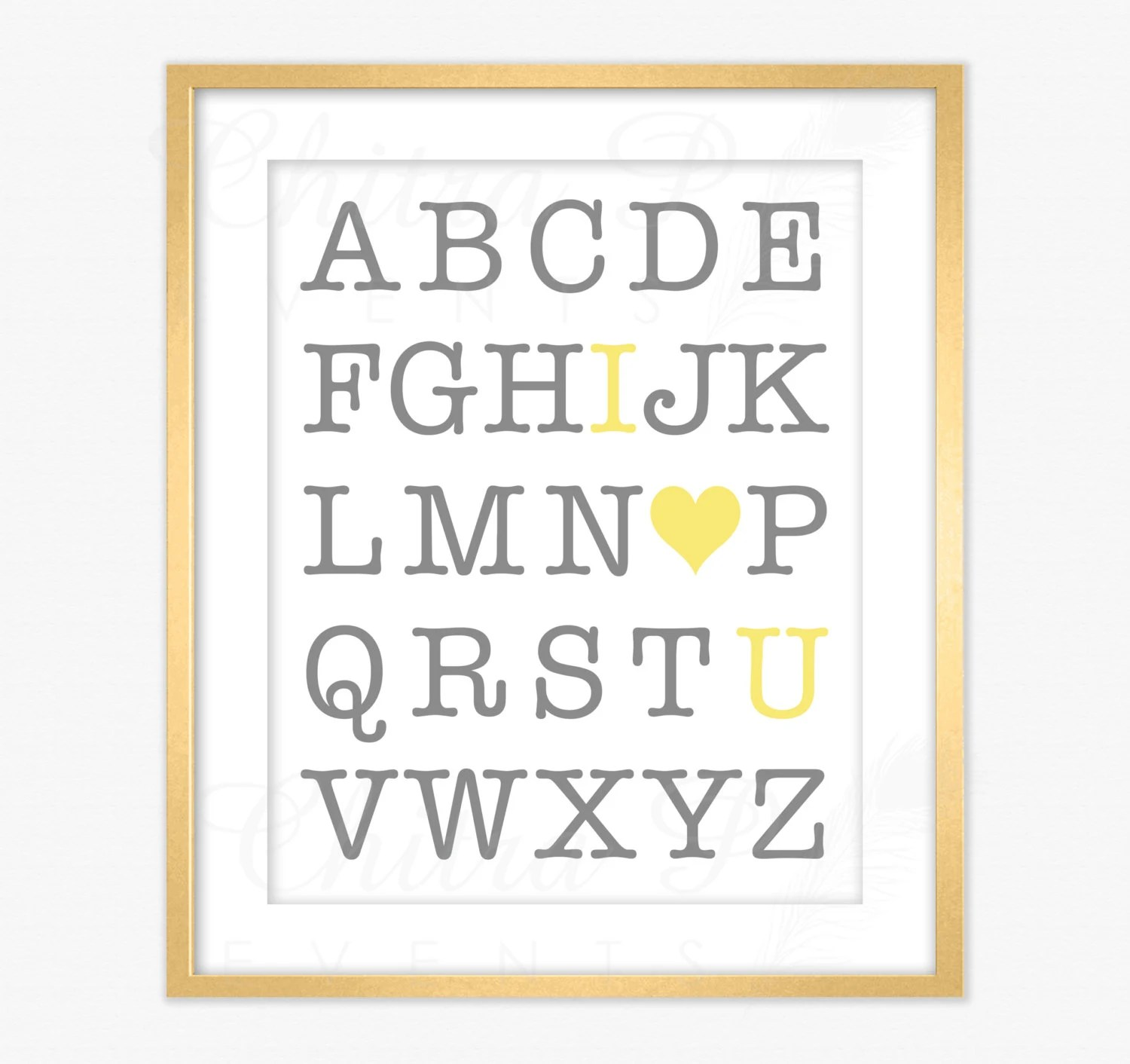 Yellow  Grey I Love You ABC Wall Art - Printed or Printable, Gender