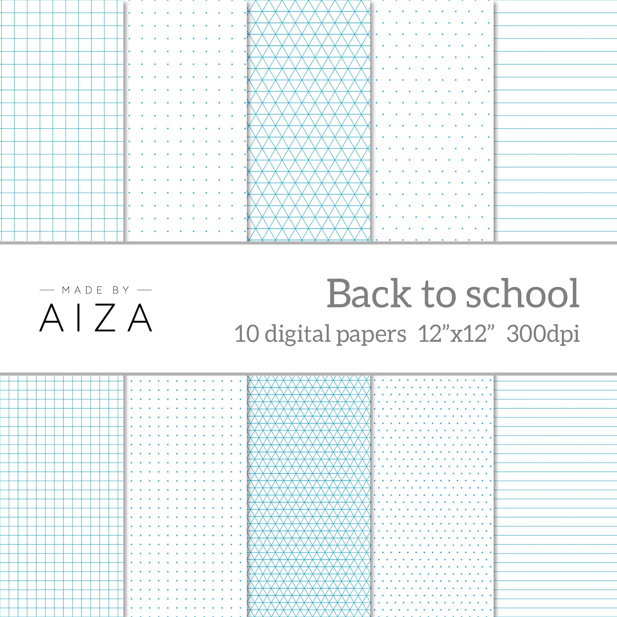 Back to school Digital Paper exercise book grid paper - digital graph paper