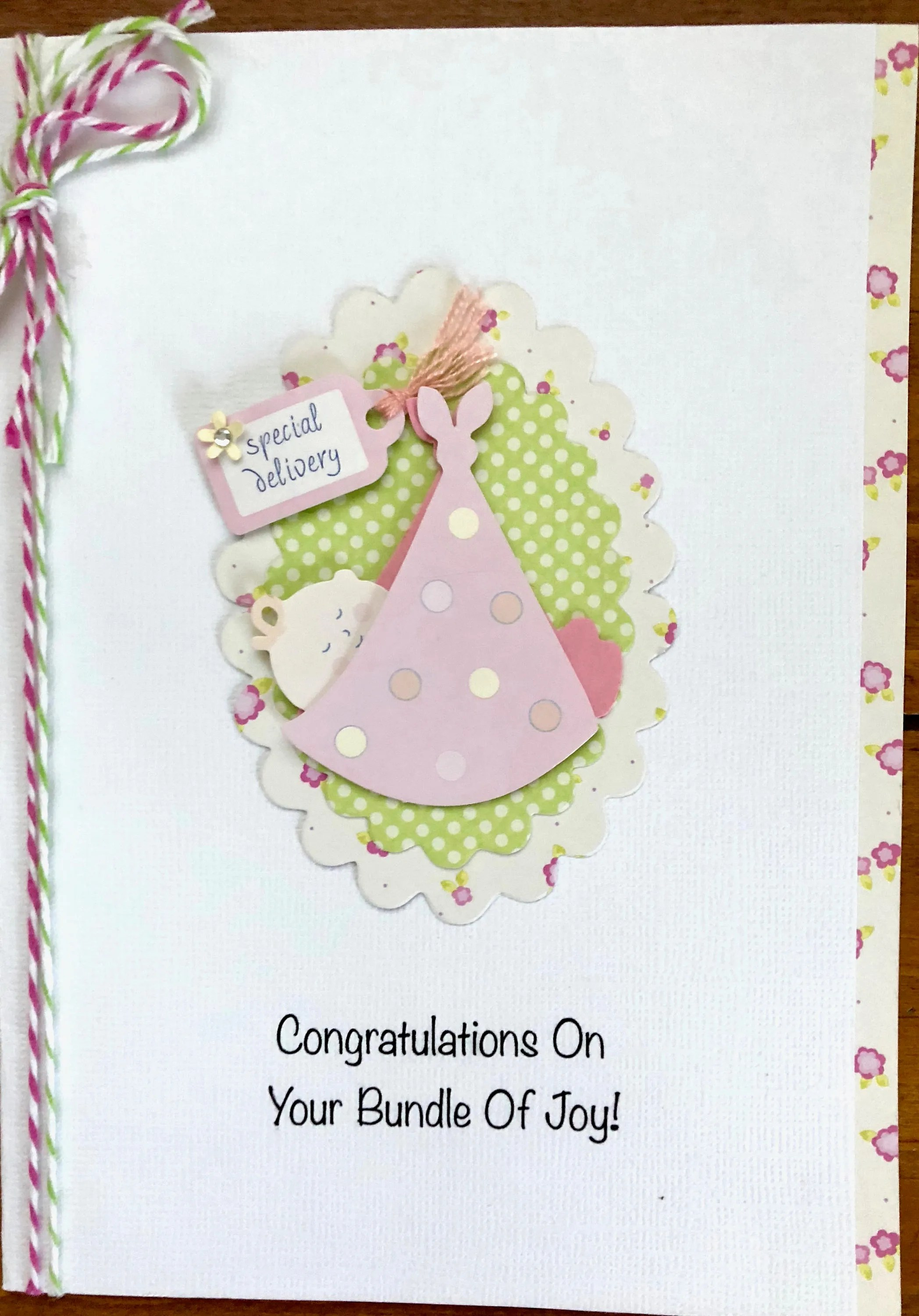 Baby Girl Congratulations Card For Etsy