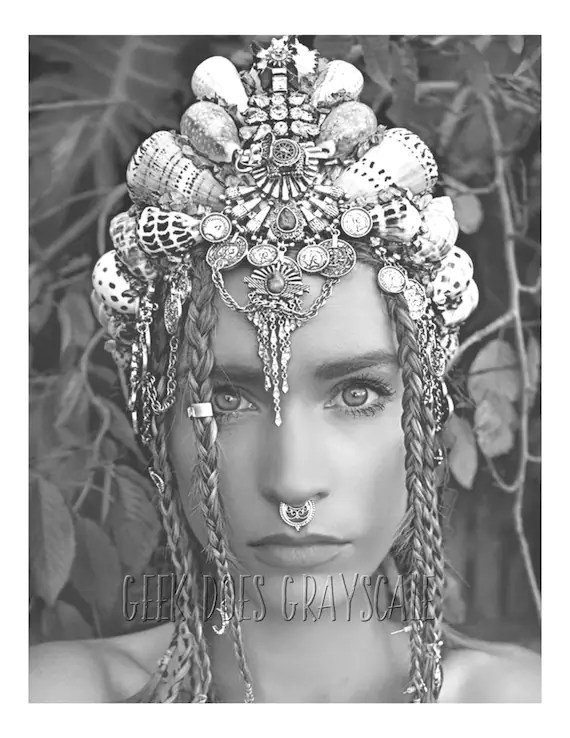 Grayscale mermaid with crown and braids Grayscale coloring Etsy