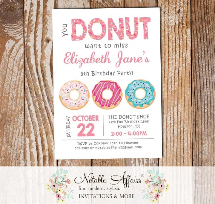 Pink Donut Sprinkles Colorful Birthday Invitation - choose text