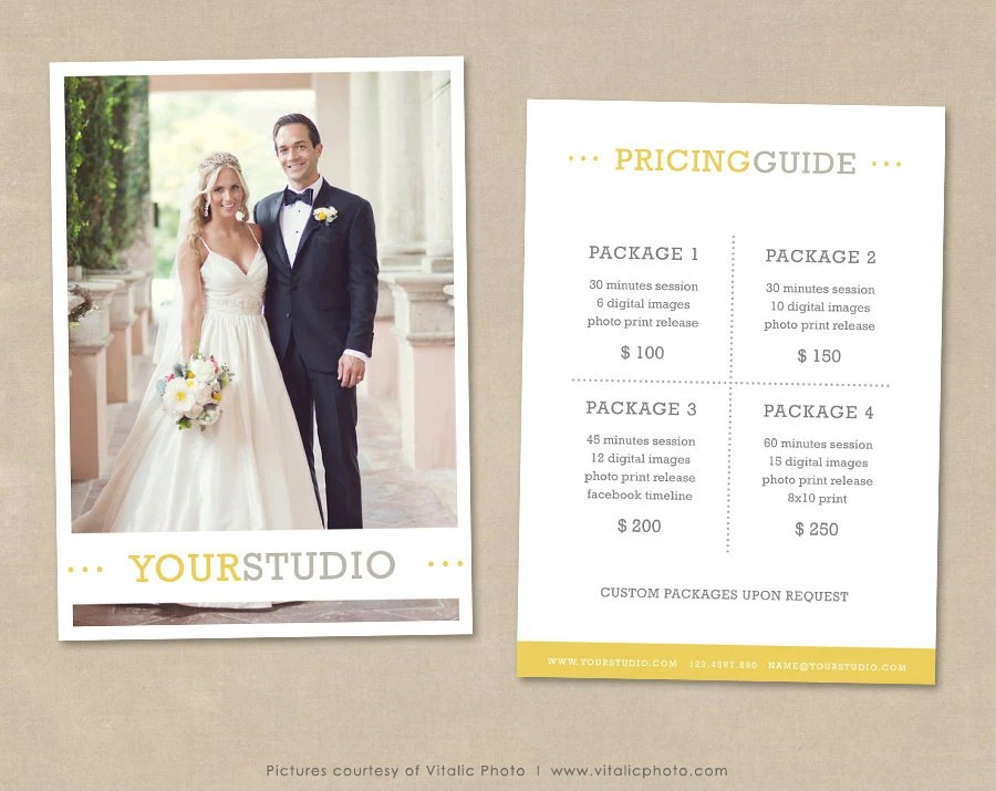 Photography Pricing Template Price List Wedding Pricing Etsy