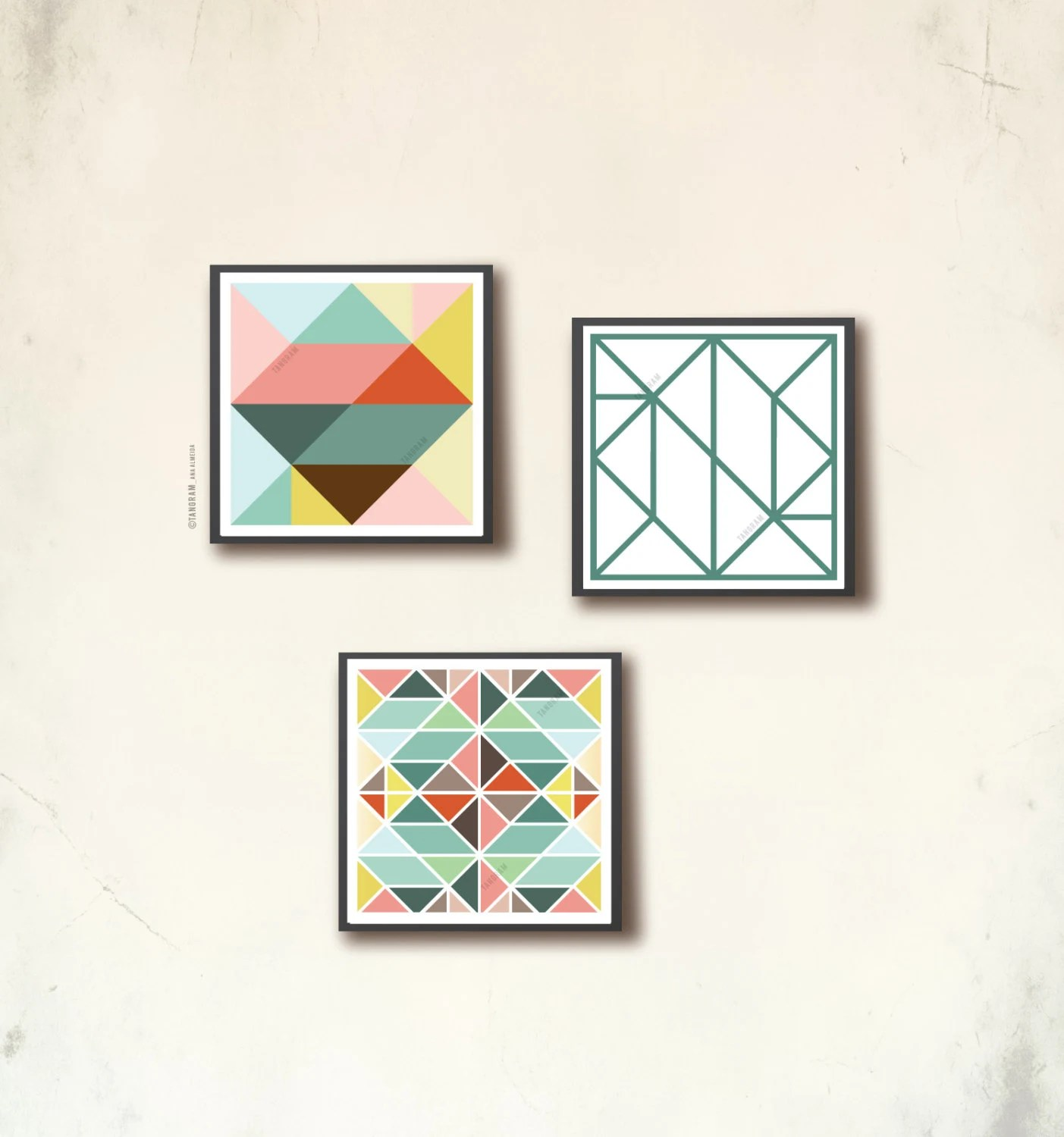 Affiches Scandinaves Scandinavian Poster Set Ii Three 12 X 12 In Geometric Art Prints Affiches Scandinaves Tangram Squares By Tangramartworks