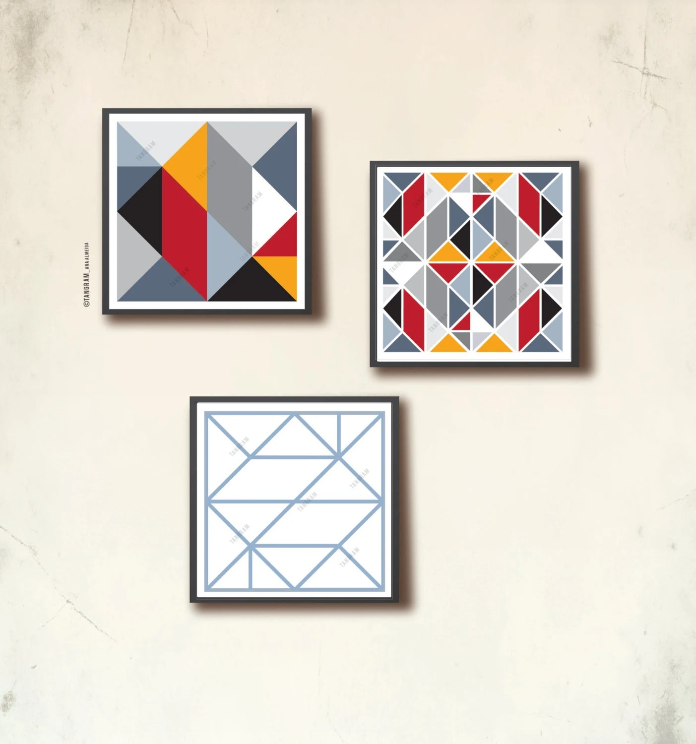 Affiches Scandinaves Geometric Art Trio Three Square Posters Scandinavian Posters 12 X 12