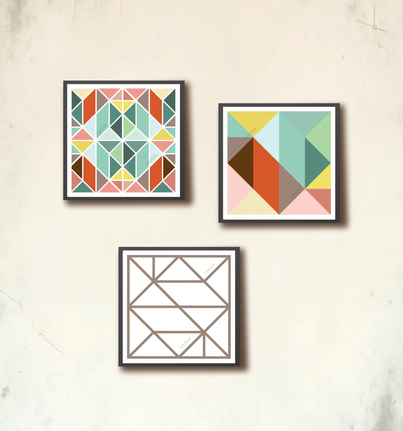 Affiches Scandinaves Scandinavian Square Poster Set 3 Mini Geometric Art Prints 4 X 4in Affiches Scandinaves Tangram Squares Modern Wall Art Tangramartworks