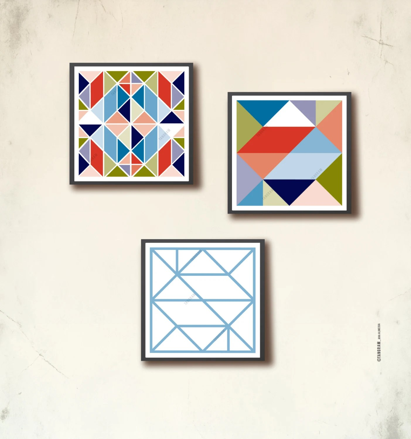 Affiches Scandinaves Square Scandinavian Mini Posters Set 3 Mini Geometric Art Prints 4 X 4in Affiche Scandinave Tiny Wall Art Prints Tangramartworks