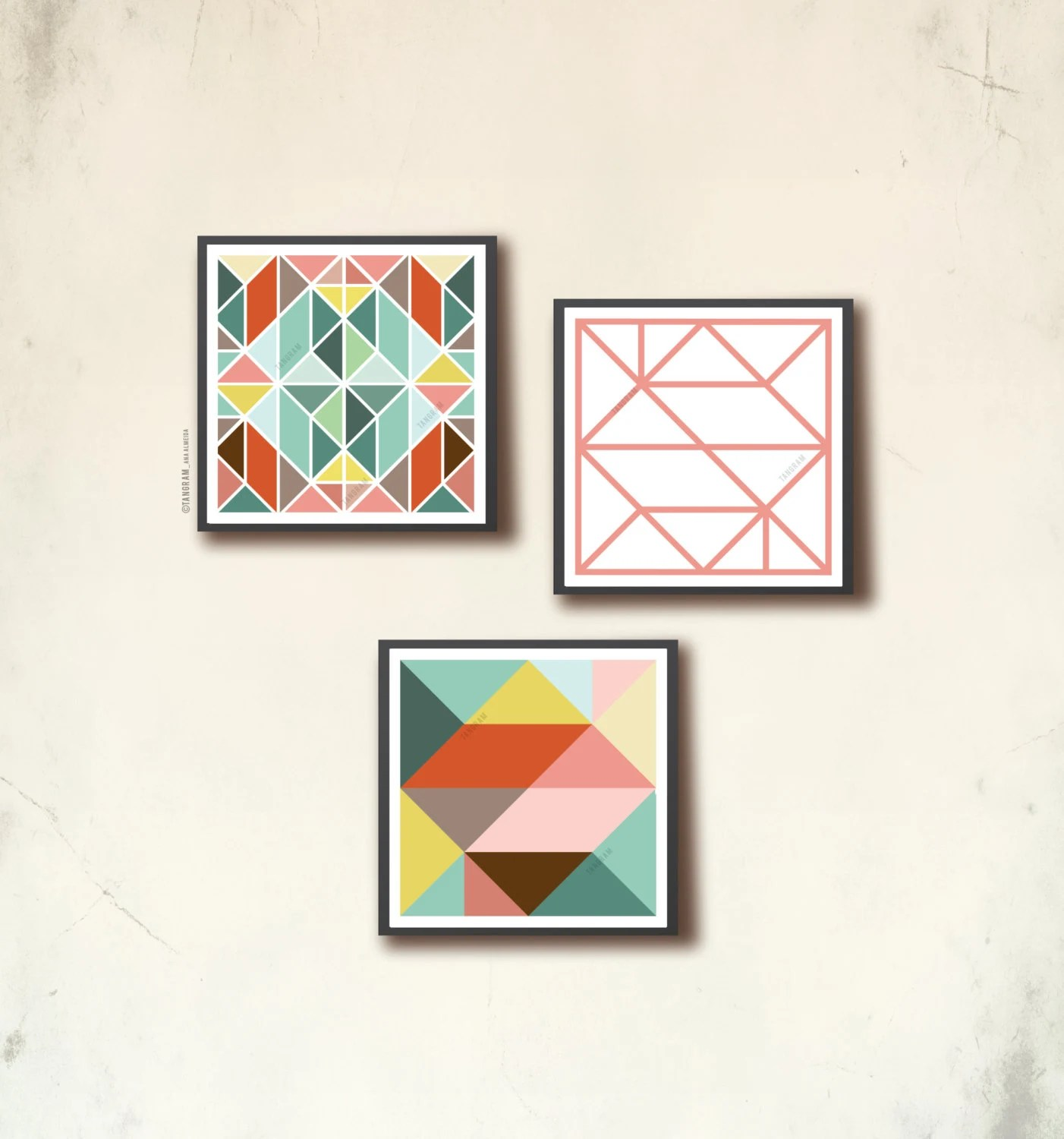Affiches Scandinaves Affiche Scandinave 3 Square Scandinavian Poster Set Iii Geometric Art Trio Square Prints 12 X 12in Tangram Squares Tangramartworks