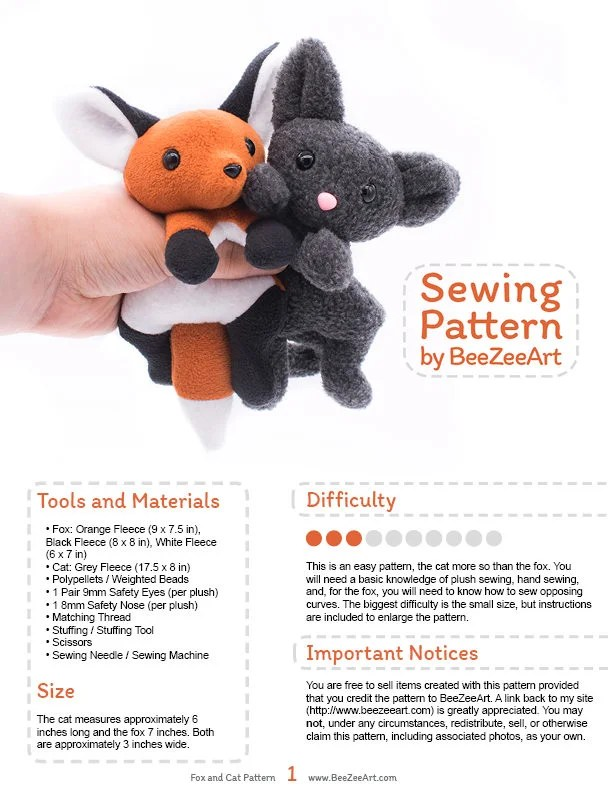 Cat Plush Toy Fox And Cat Stuffed Animal Sewing Pattern Plush Toy Pattern Pdf