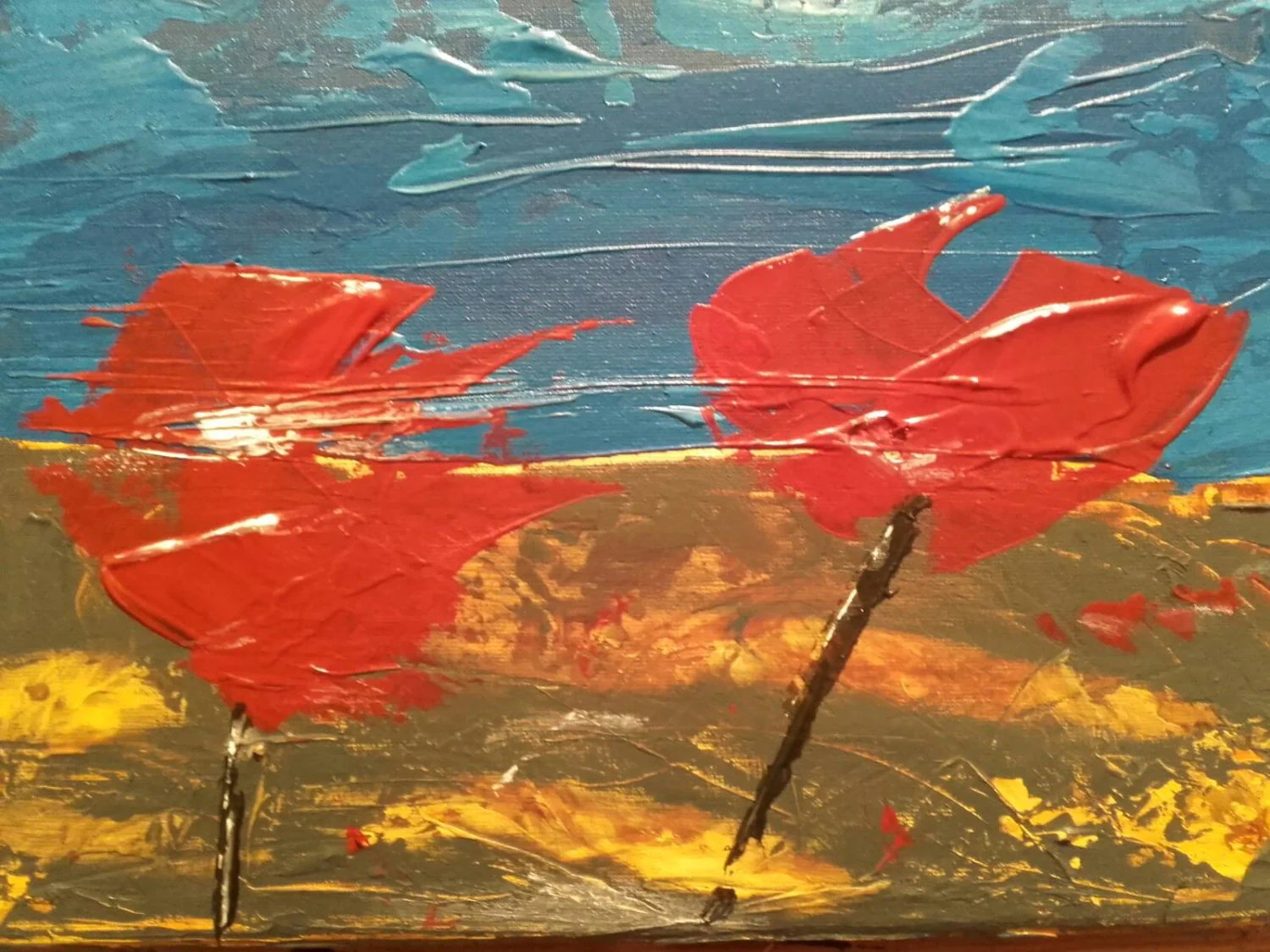 Bright Colours Painting Connemara Poppy Abstract Art Red Painting Blue Painting Flower