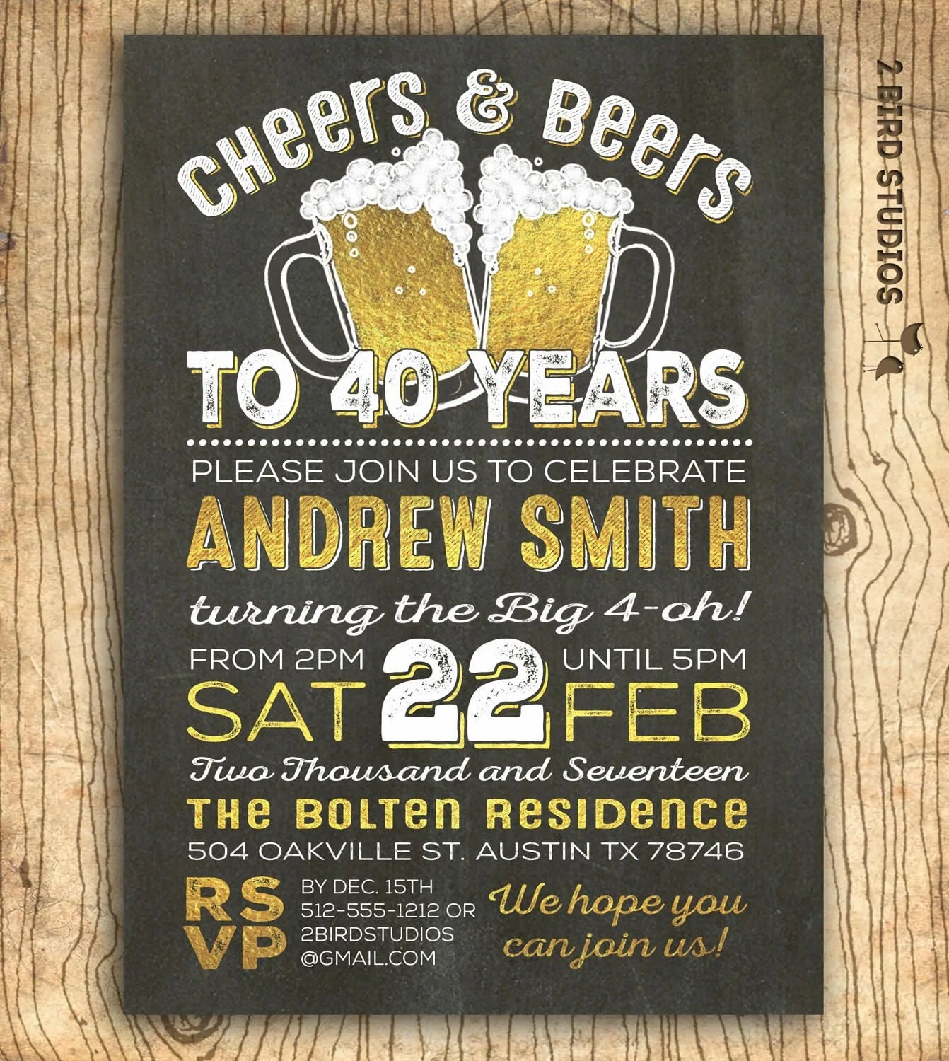 40th birthday invitation for men - Cheers  beers to 40 years - 40th
