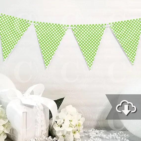 Lime Green Polka Dot Banner Printable, DIY Custom Banner, Lime Green