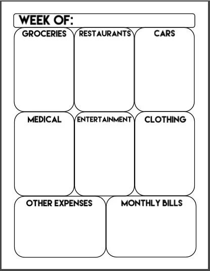 Printable Weekly Expense Tracker Weekly Budget Money Etsy - money expense tracker