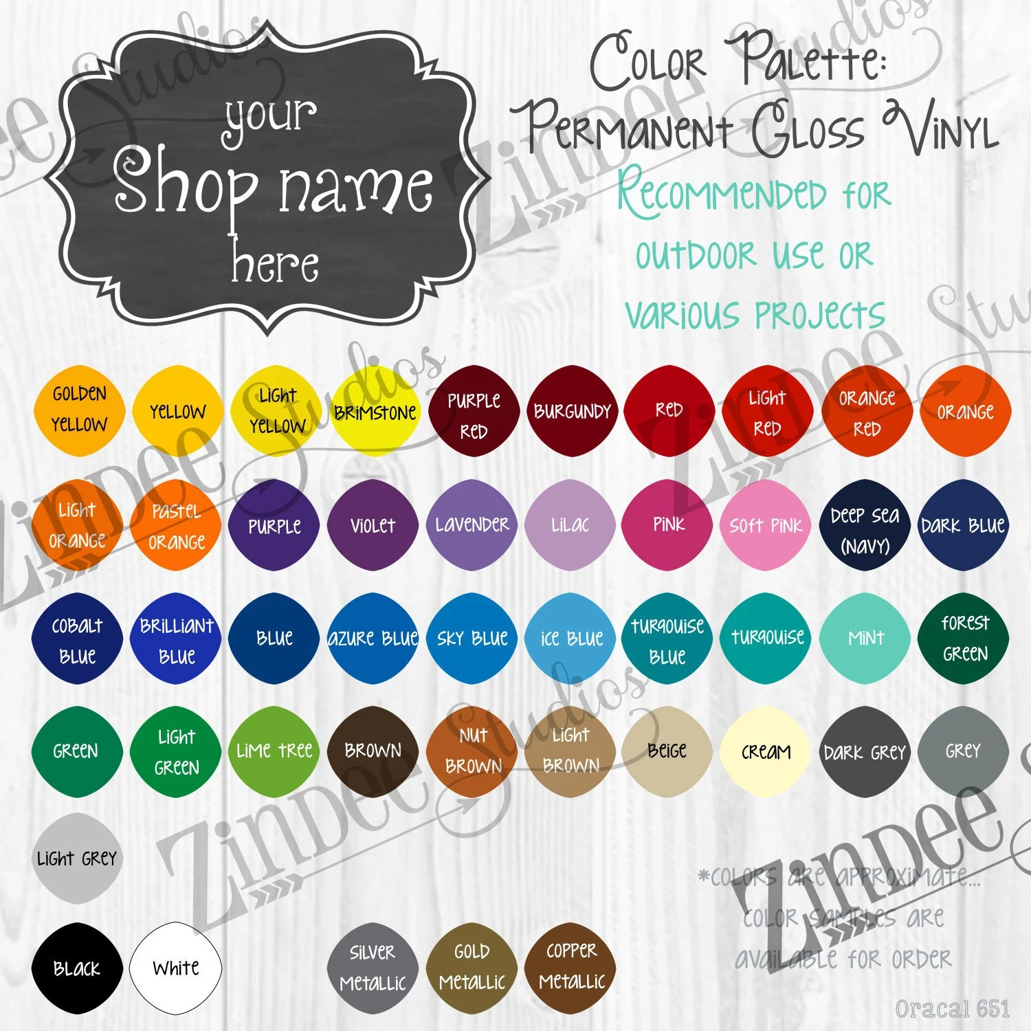 Oracal 651 Digital color chart With Space for your shop name Etsy