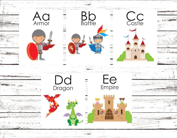 Flash Cards Knights Alphabet Cards Learning Toys Etsy