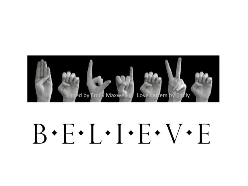 BELIEVE ASL American Sign Language Letters Black  White Etsy