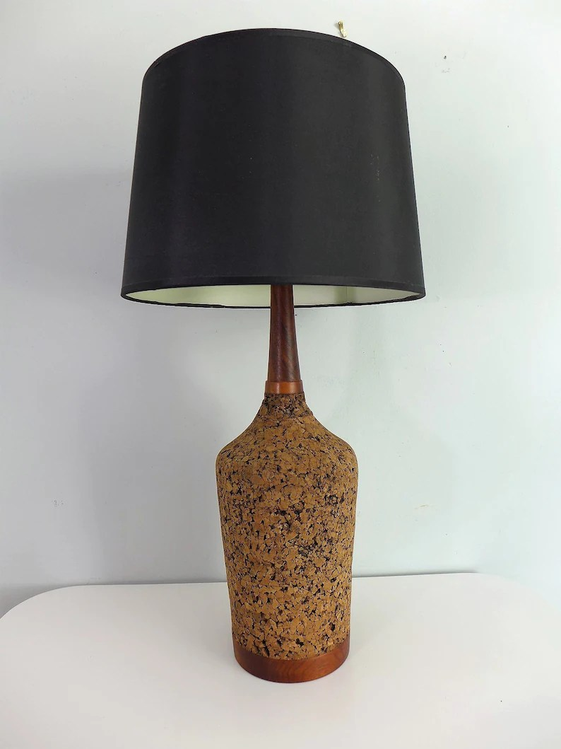 Table Lamp Base Tall Cork Table Lamp Hardwood Base And Neck Slim Mid Century Modern Table Lamp Natural Brown Accent Bedroom Living Room Lighting