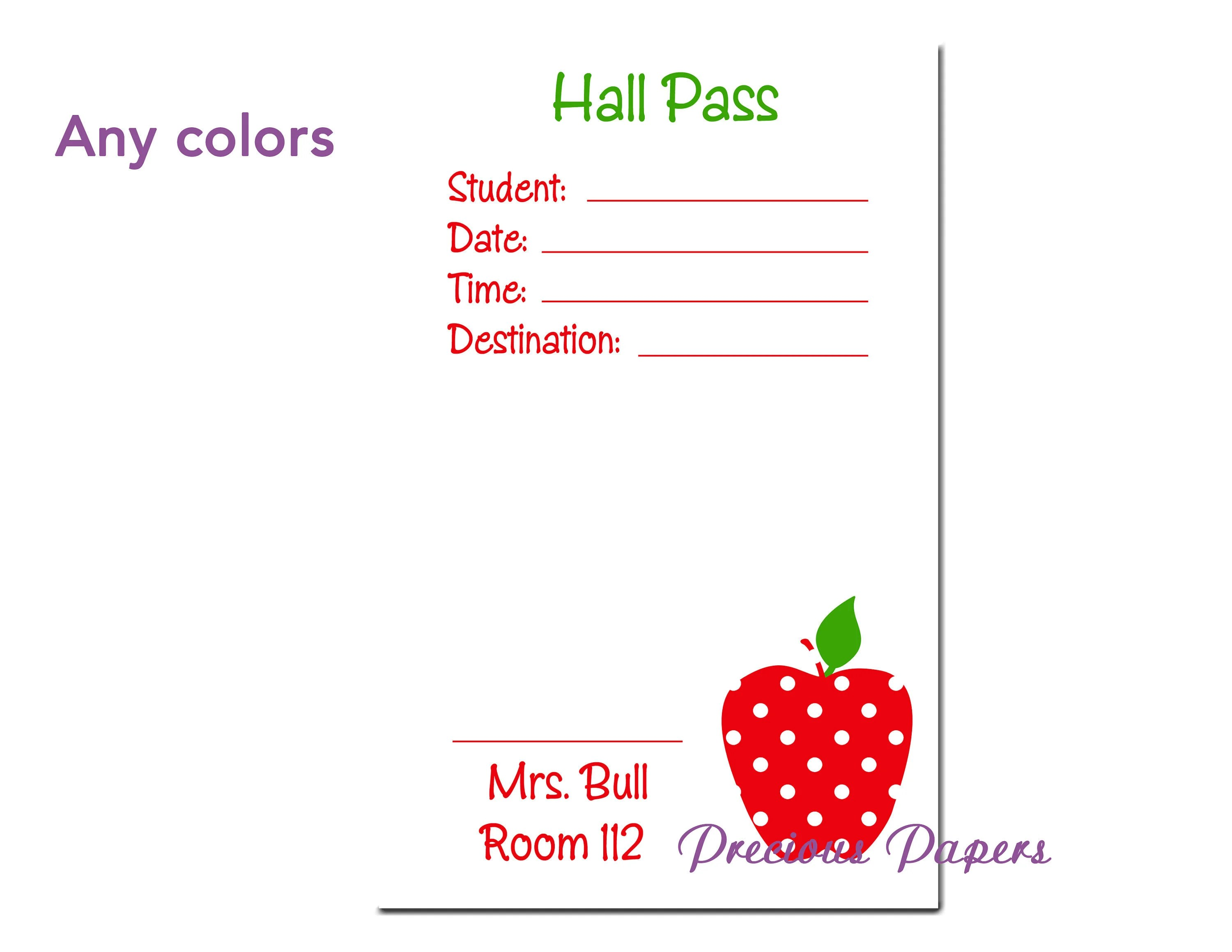 Personalized teachers hall pass notepad hall pass notes hall pass