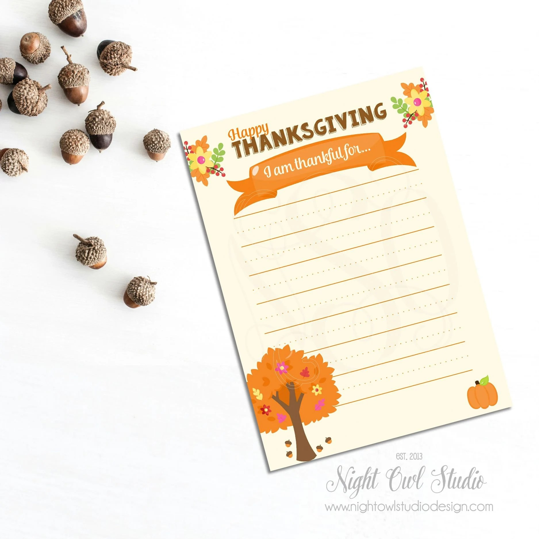 Thanksgiving Printable Card Thanksgiving Stationery Printable