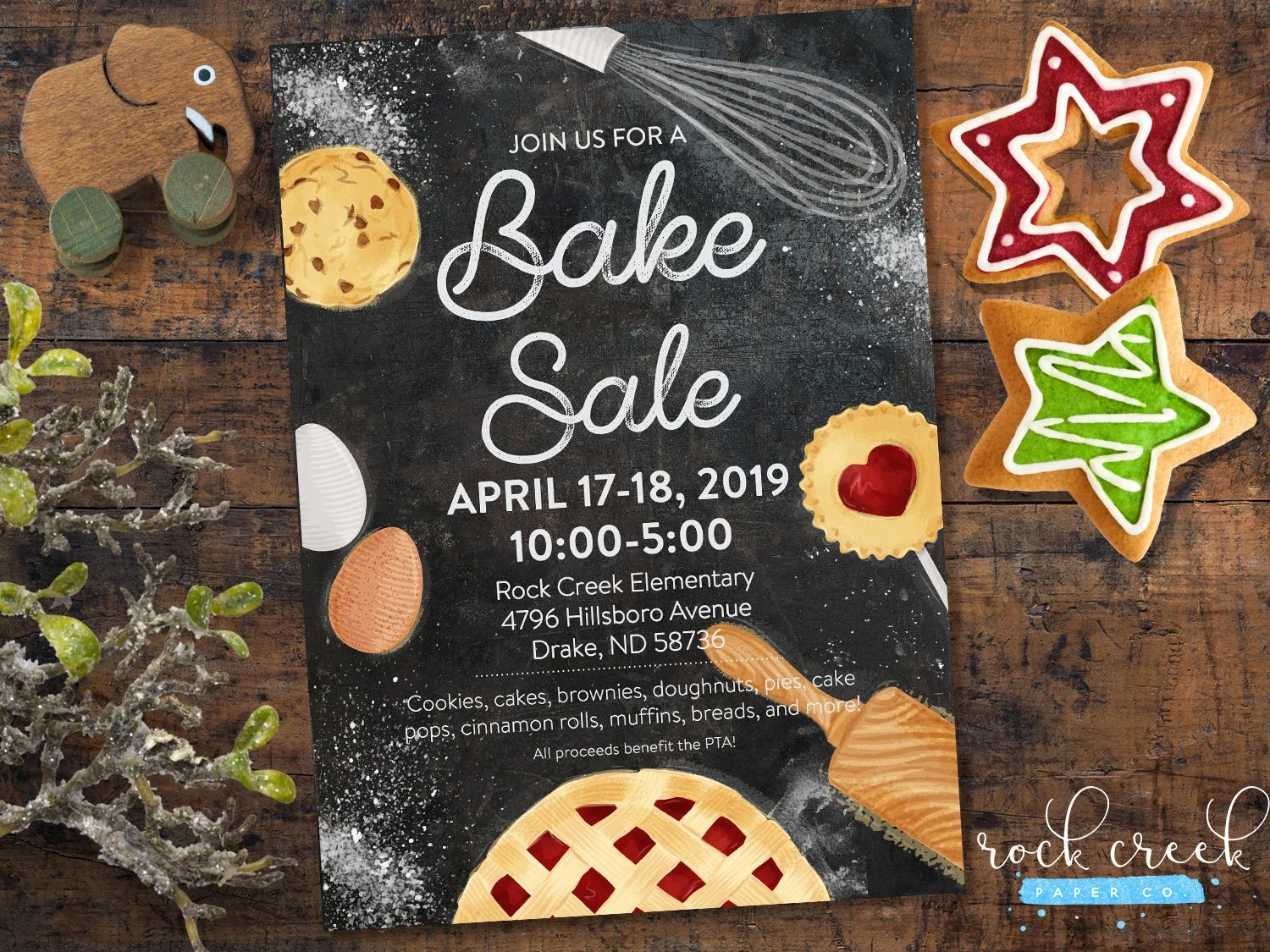 Bake Sale Flyer Bake Sale Invitation School Fundraiser Etsy