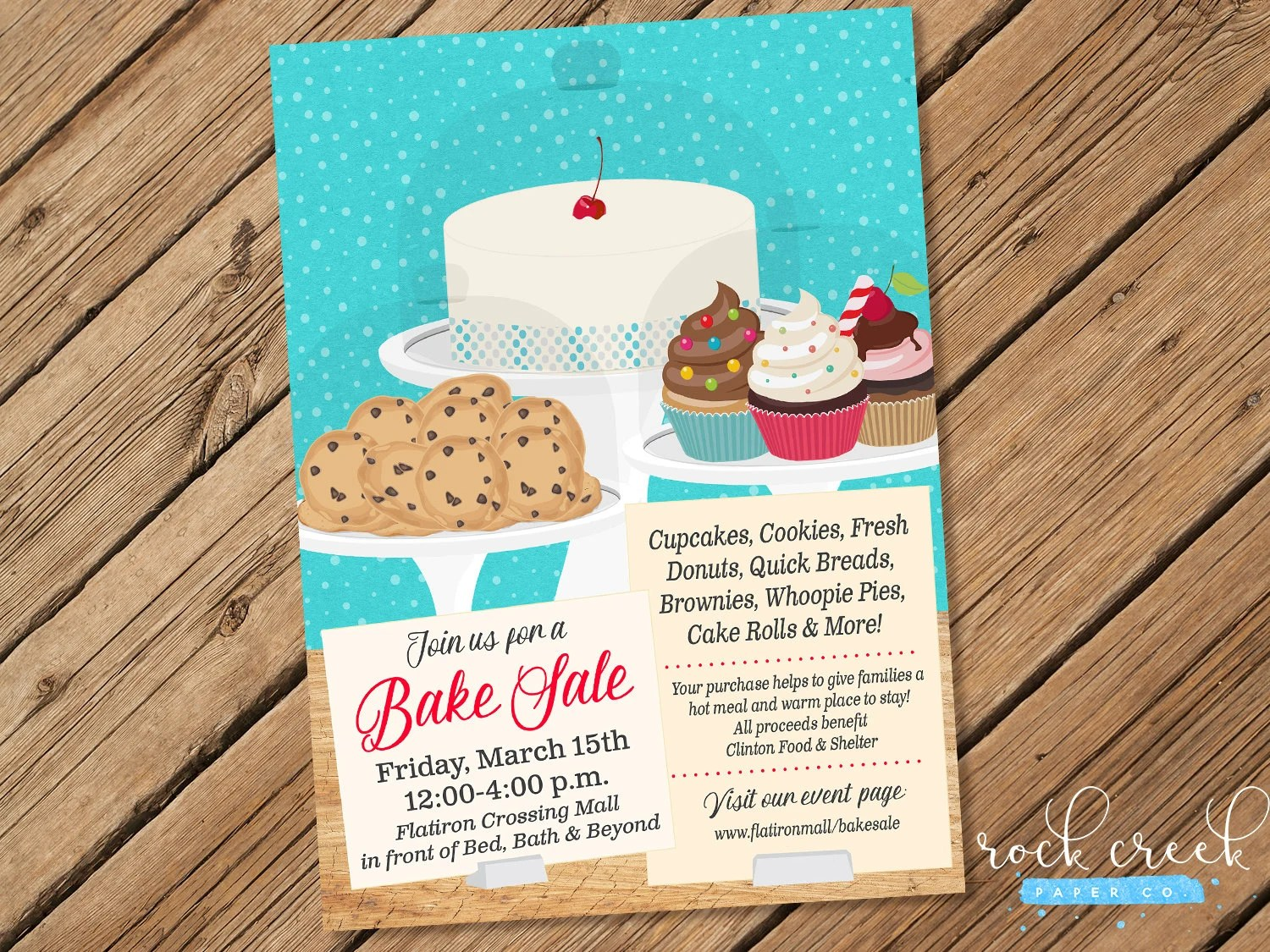 Bake Sale Flyer, Bake Sale Invitation, School Fundraiser Flyer